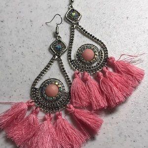 Jewelry - Pink Fringe Dangle Earrings